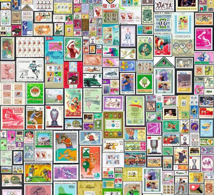 Collection de timbres de tennis de table