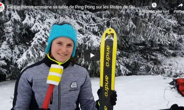 Sabine Winter emmène sa table de Ping Pong sur les Pistes de Ski