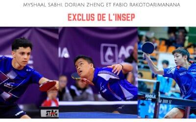 Myshaal SABHI, Dorian Zheng et Fabio RAKOTOARIMANANA exclus de l'insep