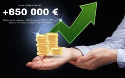 + 650 000 € de bénéfices pour la FFTT